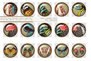 Butterfly Paperweight Button 2 Olive