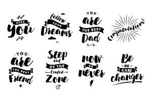 Set of Quotes for coffee. Lettering. ~ Illustrations