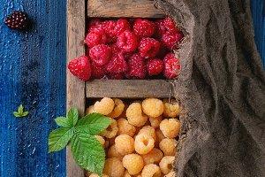 Heap of colorful raspberries