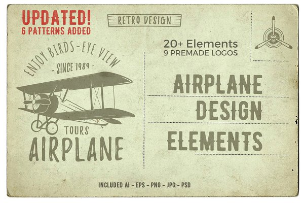 Airplane Badges & Design Elements.