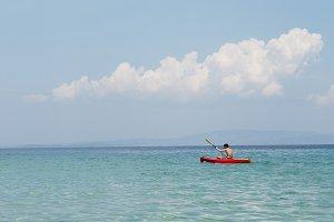 Red Kayak On Blue See