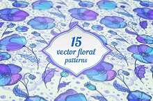 15 vector floral seamless patterns