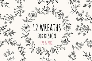 12 wreaths for design EPS & PNG