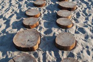Wooden Stage On Sandy Beach