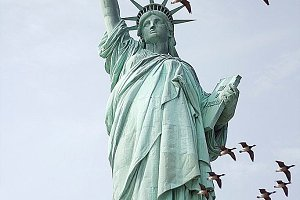 Statue of Liberty and birds