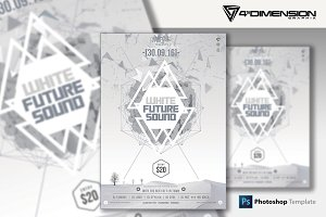 White Future Sound Flyer Template