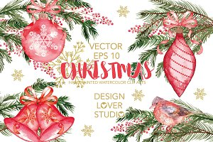 Vector watercolor Christmas cliparts