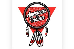 Color vintage american indian emblem