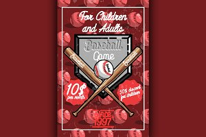 Color vintage baseball poster