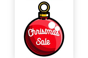 Color vintage Christmas sale emblem