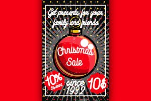 Color vintage Christmas sale poster
