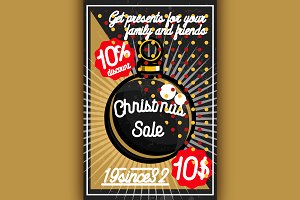 Color vintage Christmas sale poster