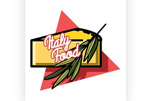 Color vintage italy food emblem