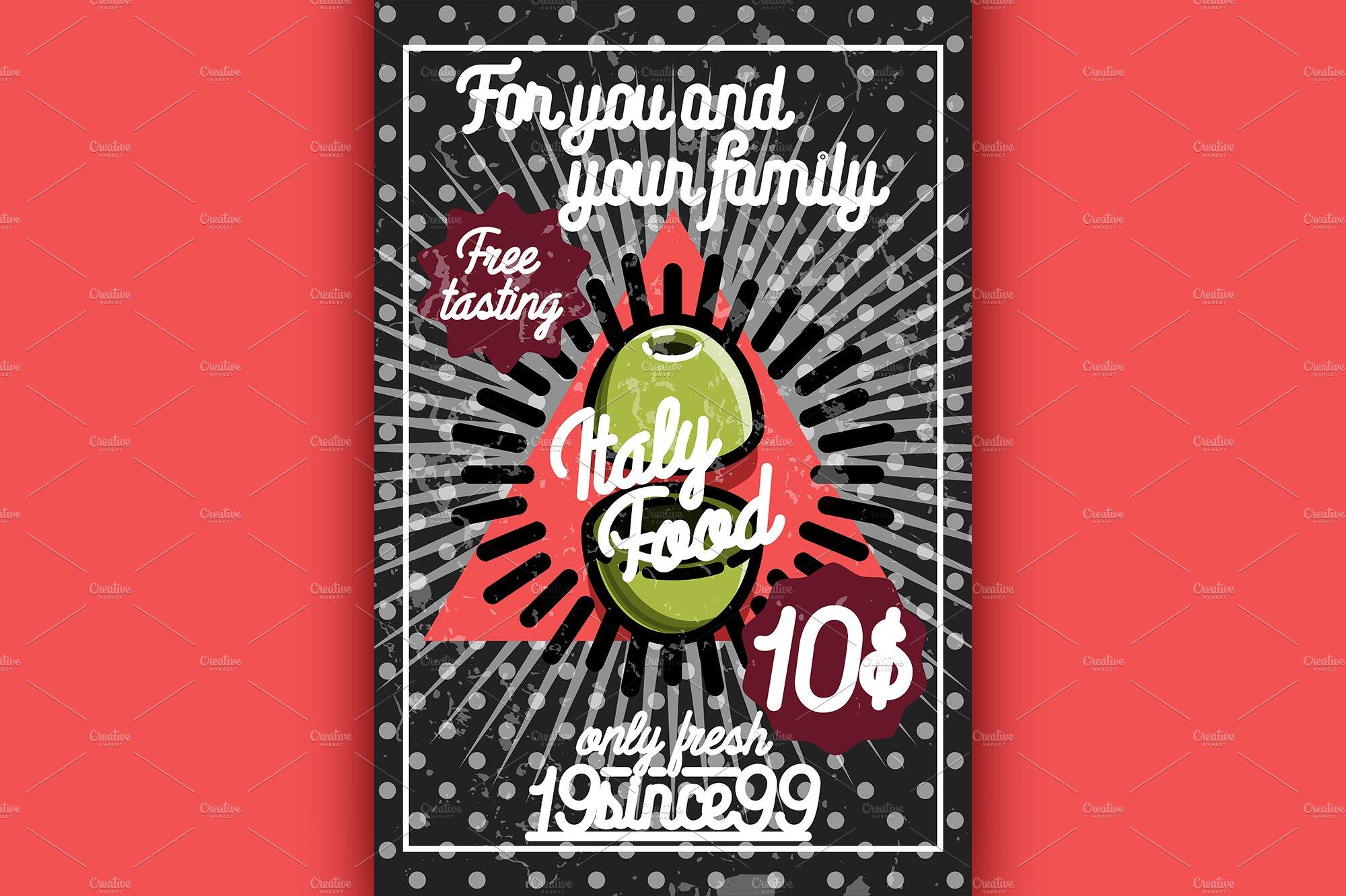Color vintage italy food poster | Pre-Designed Illustrator ...