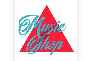 Color vintage music shop emblem