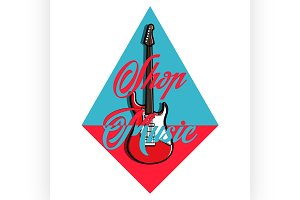 Color vintage music shop emblem