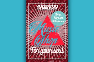 Color vintage music shop poster