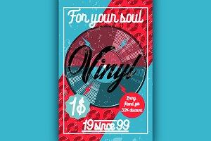 Color vintage music shop poster