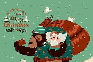 Bear taking selfie with Santa Claus