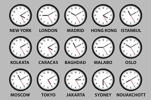 time differences in world cities