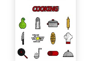 Cooking flat icon set