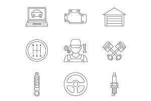 Auto service linear icons vol 2