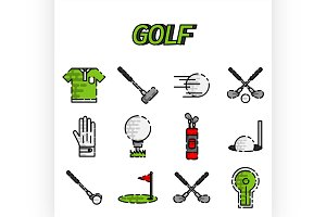 Golf flat icon set