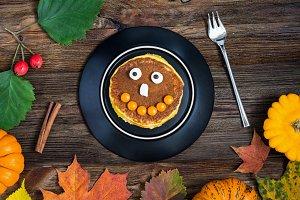 Pumpkin Halloween pancake