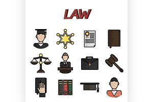 Law flat icons set