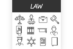 Law icons set