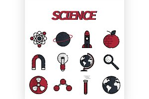 Science flat icons set