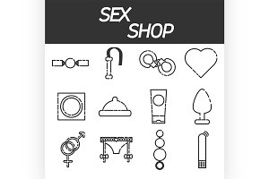 Sex shop icons set
