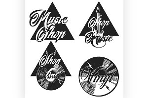 Vintage music shop emblems