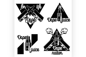 Vintage vape, e-cigarette emblems