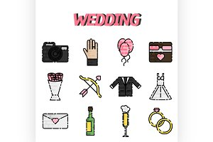 Wedding flat icon set