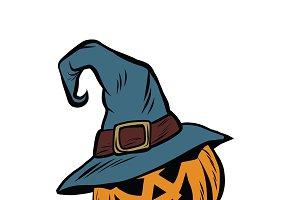 Funny Halloween pumpkin hat pilgrim