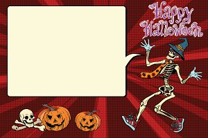 Happy Halloween funny skeleton