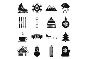 Winter icons set, simple style