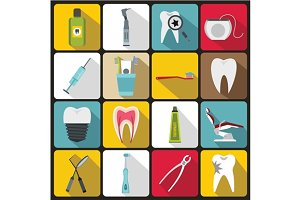 Dental care icons set, flat style