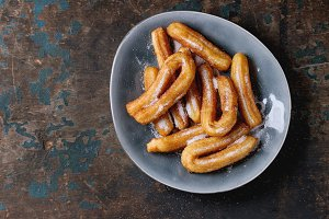 Spanish churros with sugar