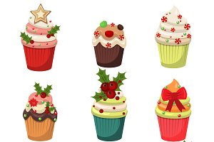 Christmas set of cupcakes vector