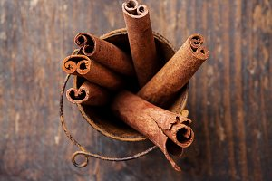 Cinnamon sticks in bucket