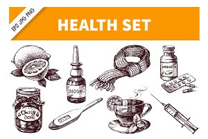 Hand Drawn Healthy Medical Set