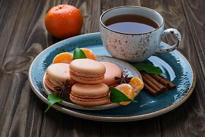 French macaroons with tangerine.