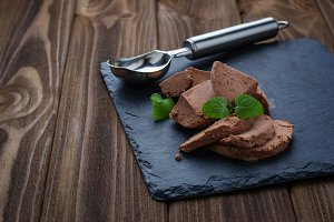 Chocolate ice cream with mint