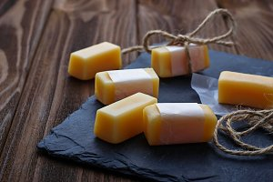 Candy toffee on wooden background