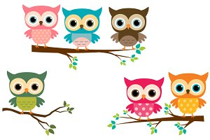 Cute owls with branches clip art