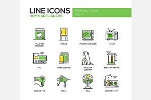 Home Appliances - Line Icons Set