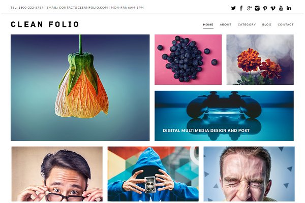 WordPress Portfolio Themes: Dessign Themes - Clean Folio WordPress Theme