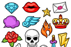 Set of retro tattoo symbols.